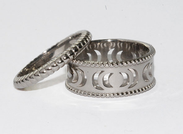 White gold wedding and engagement ring